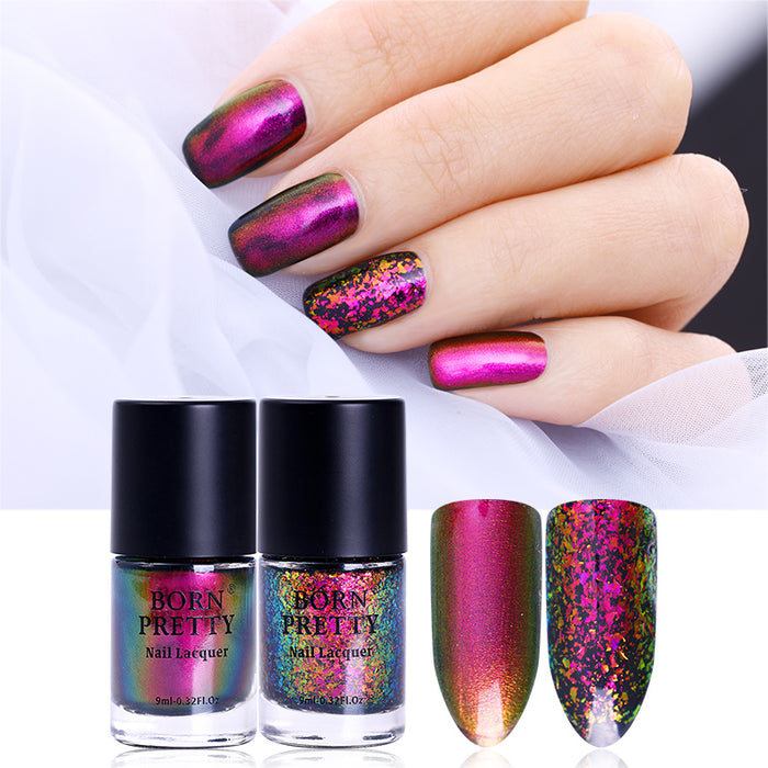 Chameleon Nail Polish 9ml Gold Violet Galaxy Glitter Sunset Glow Sequins Nail Lacquer Varnish (Black Base Needed)