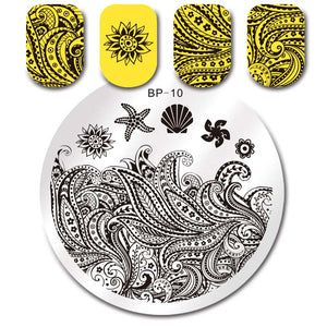 Lace Starfish Shell Nail Stamping Plate Negative Space Leaves Flowers Animals Nail Template 31 Designs - Goamiroo Store