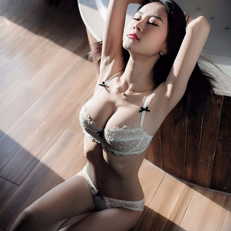 713600f46c7a2 Ultrathin underwear lace transparent sexy bra set women plus size Half Cup  bra and panty sets C cup brassiere white lingerie set