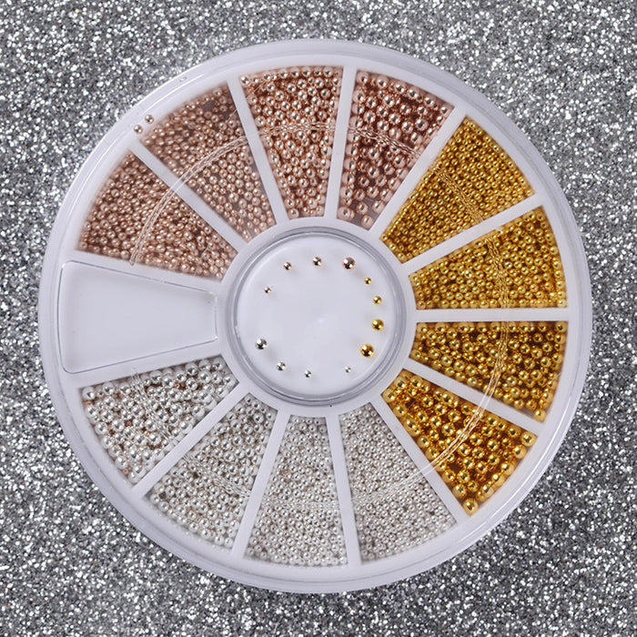 1 Box Steel Beads Nail Studs Gold Sliver Champagne Mixed 3Ds In Wheel Manicure DIY