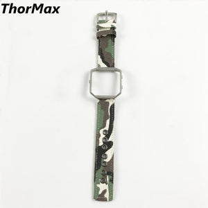 Thormax Special Design Nylon/canvas Camouflage Sport Strap Stainless Steel Buckle With Metal Frame For Fitbit Blaze Wristwatch - Goamiroo