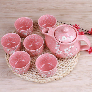 Japanese Teapots Set Retro Snowflake Cups Ceramic 1 Pot 6 Cups - Goamiroo Store