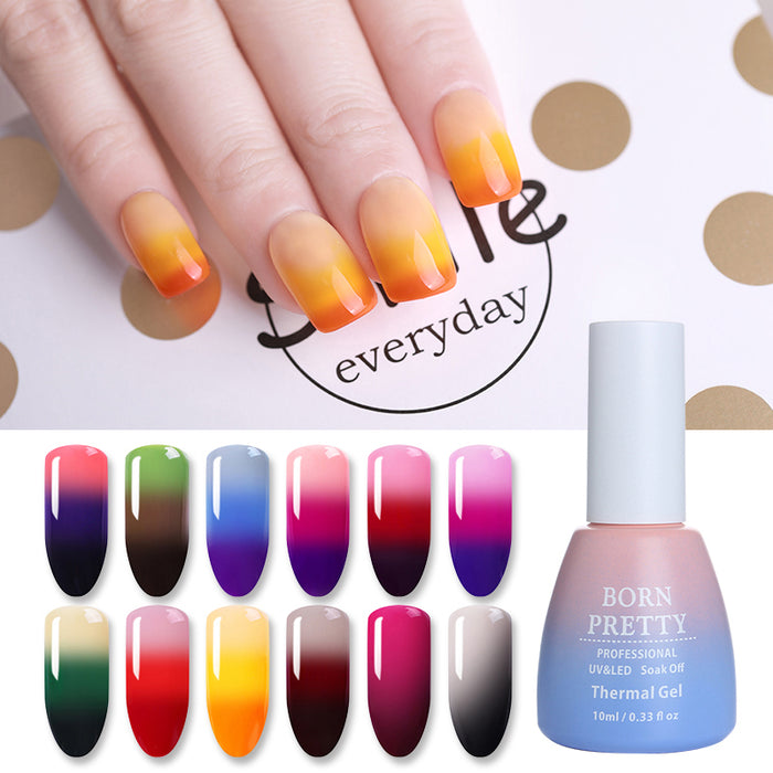 3 Colors Thermal Nail Gel Polish 10ml Temperature Color Changing Soak Off UV Gel Lacquer Manicure Nail Art Varnish