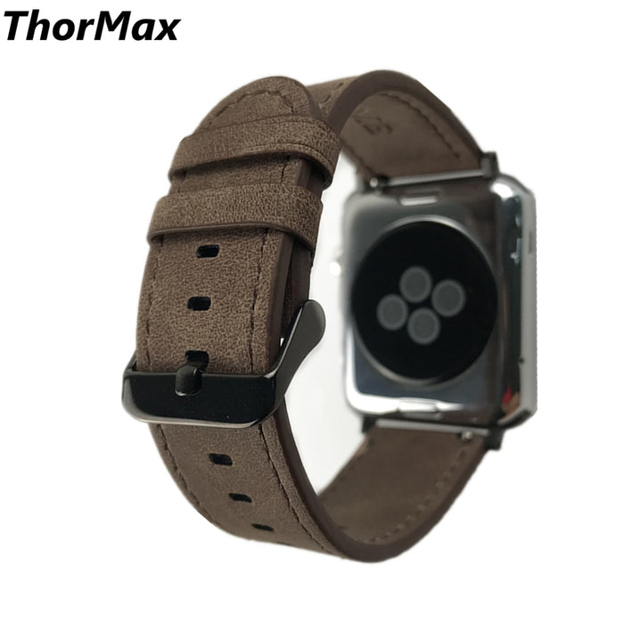 Crazy Horse Leather Classic Strap For Apple Watch Series1 Series2/3 Replacement WatchBand 38mm/42mm thormax