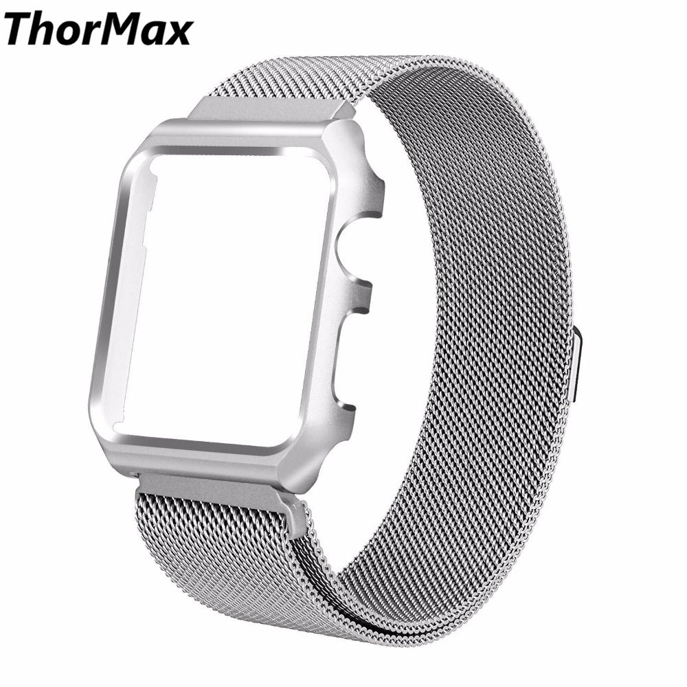 best service e9c83 844b4 ThorMax Milanese Loop Bracelet Watch Band Strap with Metal Case Replacement  for Apple Watch Series 1/2/3 38mm 42mm ML1003S