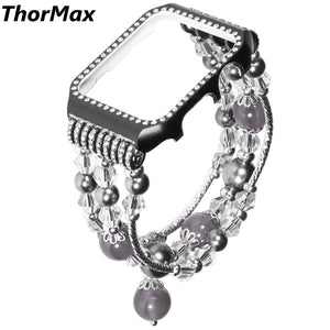 Thormax For Apple Watch Series 1/2/3 With Diamond Case Cover Handmade Elastic Stretch Faux Pearl Bracelet Bands Strap - Goamiroo Store