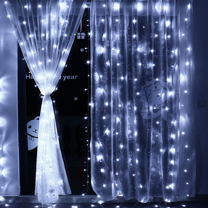 3m X 3m 8 Modes 306 Led Christmas Curtain String Fairy lights Curtain Icicle Lights