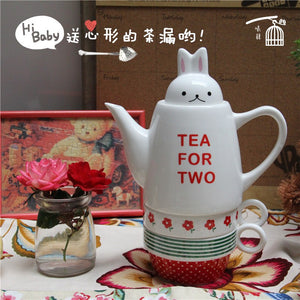 Rabbit Head Cover Tea For Two Ceramic Teapot With 2 Cup Leisure English 3 Overlapping Cup Pot Suit - Goamiroo Store