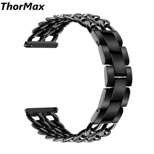 Thormax For Samsung Gear S3 Frontier / Classic Cowboy Chain Stainless Steel Watch Band 22Mm Metal Replacement Bracelet Strap - Goamiroo