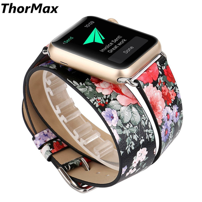 ThorMax Double Wrap For Apple Watch Pastoral Style Flower Design Printing Strap Leather Replacement Band Bracelet watchband