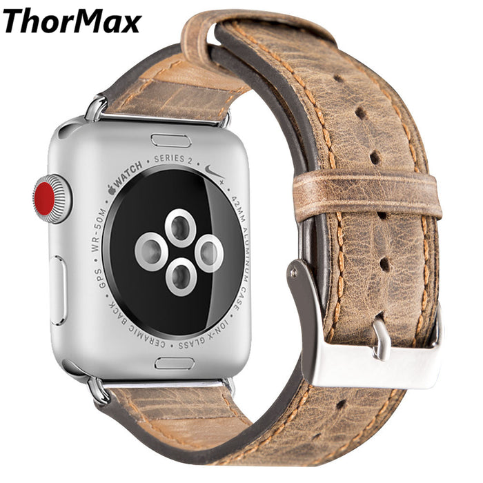 Genuine Leather Strap Nostalgic Style Burst Crack Grain Bracelet Watchband for apple watch Series 1/2 Series3 38/42mm thormax