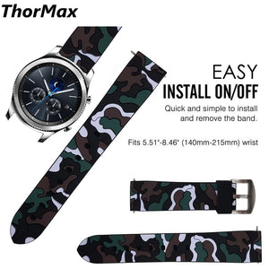 Thormax For Samsung Gear S3 Band 22Mm Camouflage Men/women Sport Loop With Soft Silicone Rubber Watch Strap - Goamiroo Store