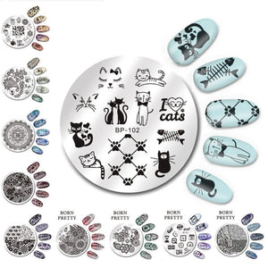 5.5cm Round Nail Art Stamp Stamping Plates Template Set Cute Animal Flower Rose Lace Image-GoAmiroo Store