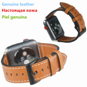 Genuine Vintage Leather Watchband For Apple Watch Series 1/2/3 Replacement Strap Men/women Wrist Bracelet Brown Color For Iwatch - Goamiroo
