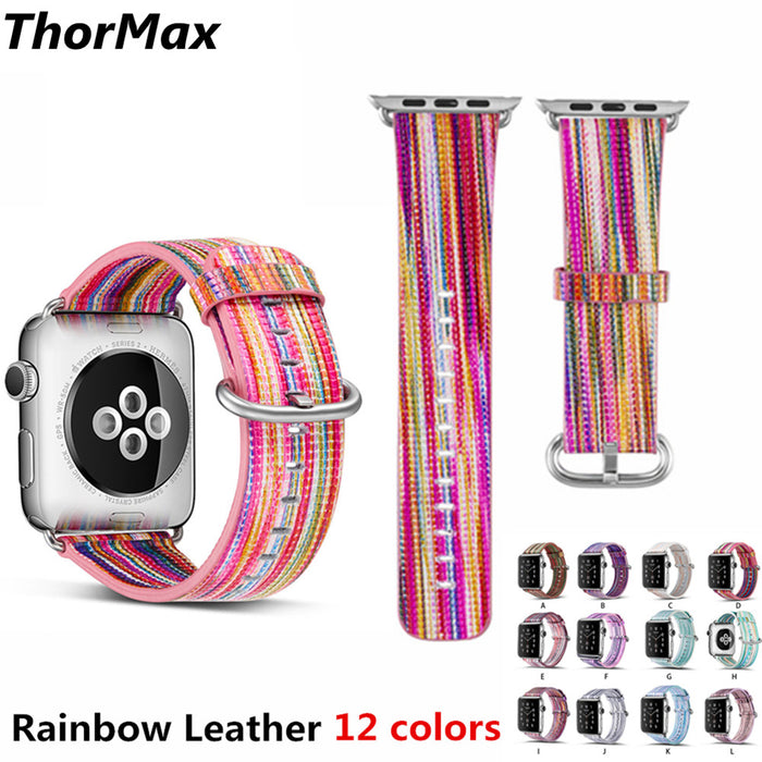 THORMAX Colorful Multicolor Rainbow Band for Apple Watch band 42mm 38mm Bracelet belt for iwatch strap Genuine Leather