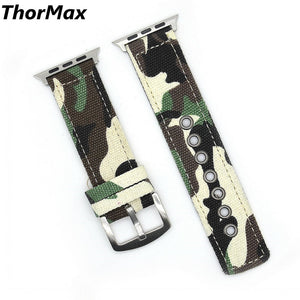 Thormax For Apple Watch Band Camouflage Canvas Buckle Strap Bracelet 38/42Mm Sport Outdoor Design - Goamiroo Store