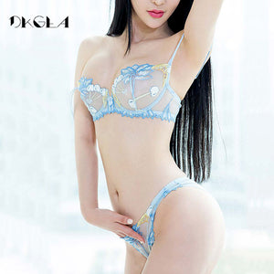2017 Fashion Flowers Embroidery Lingerie Set Lace Blue Transparent Underwear Set Women Sexy Hollow out See Through Bra Pink-GoAmiroo Store