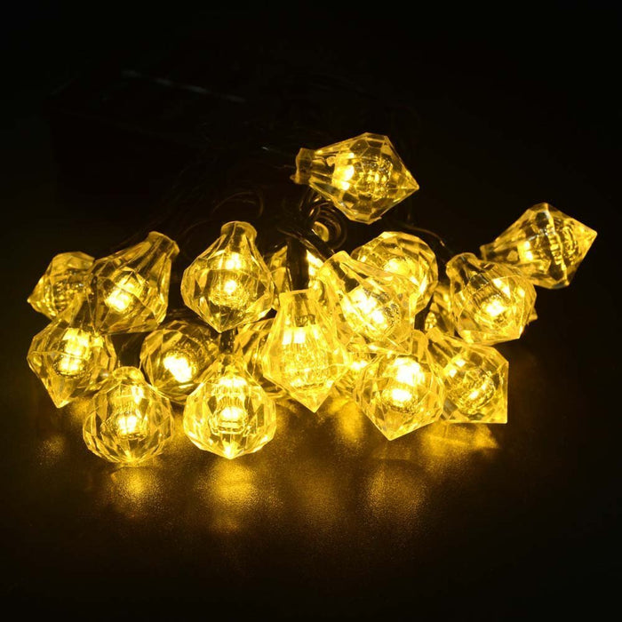 20ft 20LED Diamond Solar Fairy String Lights Decorative Lighting
