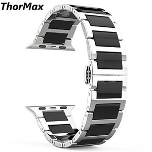 Thormax Stainless Steel Ceramics Link Replacement Strap Bracelet With Butterfly Buckle Clasp Watchband For Apple Watch Series1/2 - Goamiroo