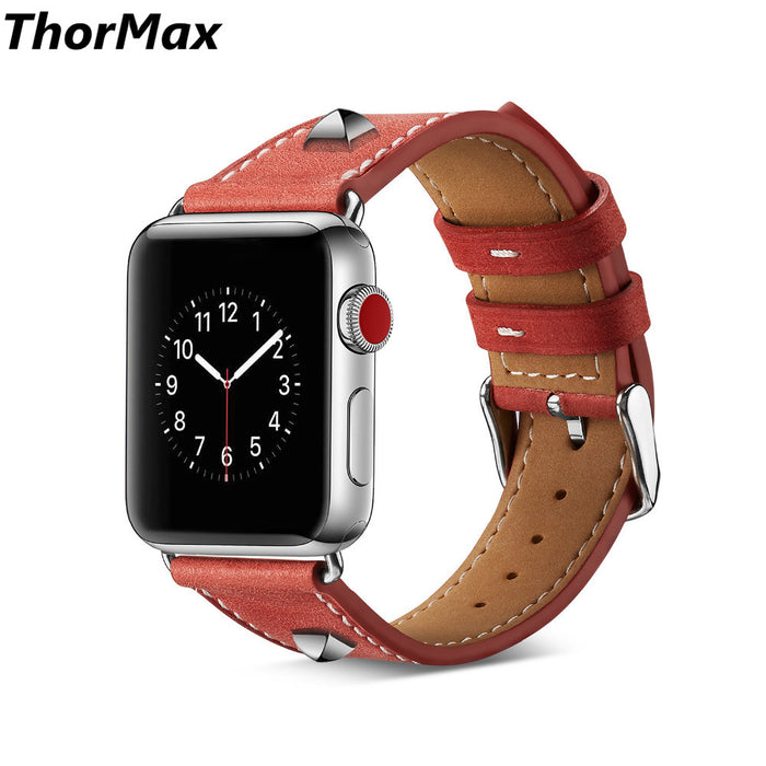 ThorMax Genuine Leather Rivet Style Bracelet Strap Replacement Men/women Watchband for apple watch series 1/2 /3 38mm / 42mm