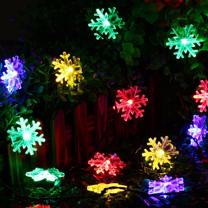 20 LED Snow Flake Flowers Solar String