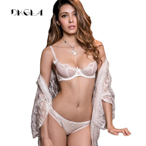 White Lace Bra Set 1/2 Cup Hollow Out Brassiere See Through Bra Transparent Lingerie Women Plus Size Sexy Underwear Sets - Goamiroo Store