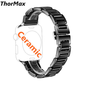 Thormax Ceramic Watch Band For Apple Watch 38/42Mm Link Bracelet Butterfly Buckle Black White Glossy Watchband Replacement - Goamiroo Store