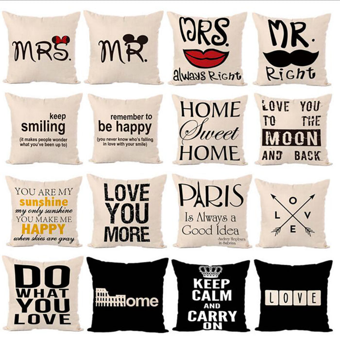 Letters Hot printed Linen Pillow Cover Letters Graphic Series Of Fashion Comfortable Home Square Pillow
