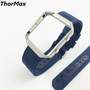 Thormax Woven Nylon Band Replacement Wrist Straps Space Stainless Steel Buckle With Metal Frame For Fitbit Blaze Wristwatch - Goamiroo Store