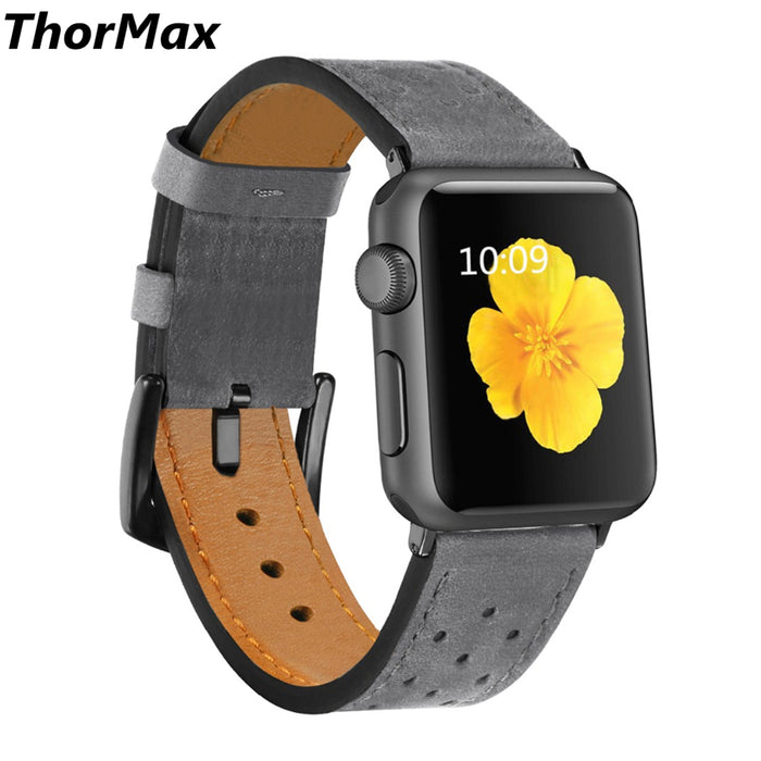 ThorMax 100% Genuine Leather for Apple Watch Band Strap for iwatch Series 3 2 1 Grey Black Spots 42MM 38MM