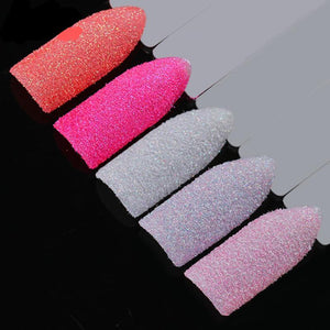 5 Boxes Holographic Nail Sugar Sandy Glitter Powder Set Summer Color Pigment Dust Manicure-GoAmiroo Store