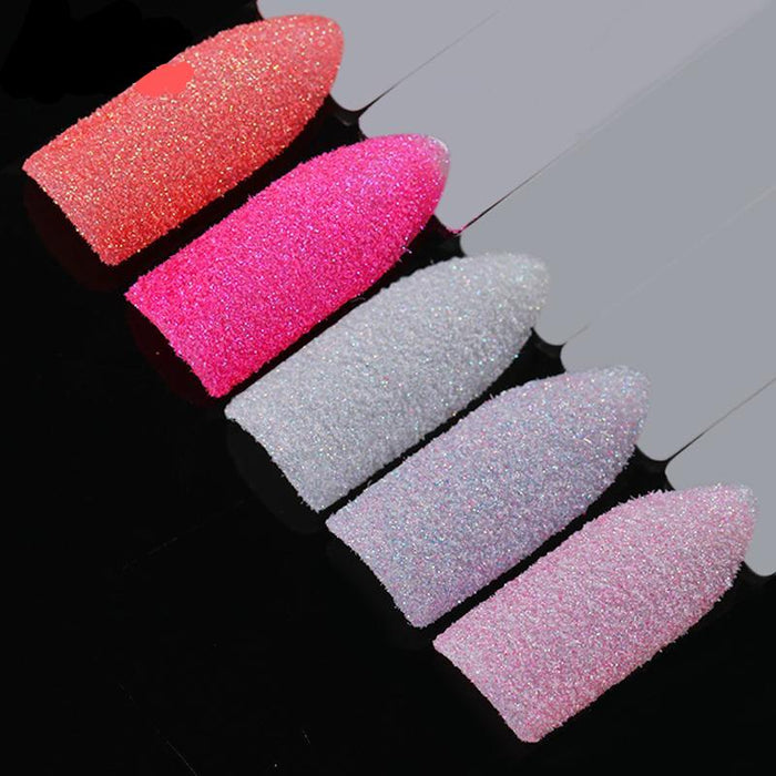 5 Boxes Holographic Nail Sugar Sandy Glitter Powder Set Summer Color Pigment Dust Manicure