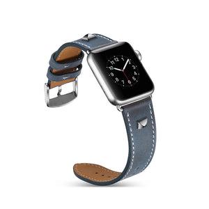 Thormax Genuine Leather Rivet Style Bracelet Strap Replacement Men/women Watchband For Apple Watch Series 1/2 /3 38Mm / 42Mm - Goamiroo
