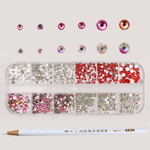 1 Box AB Color Nail Rhinestone with Dotting Pen Clear Flat Bottom Multi-size Manicure-GoAmiroo Store