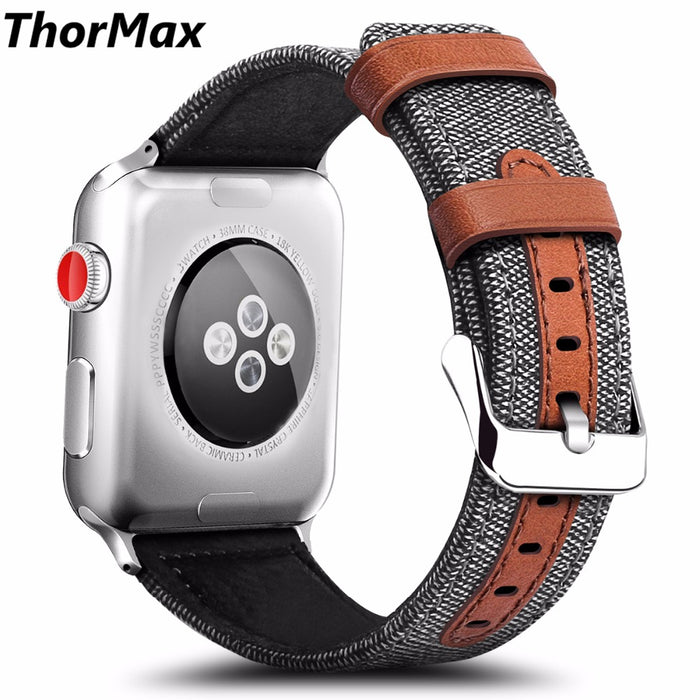 Sport Leisure Leather with Fabric Strap Brownie Style Bracelet Watchband Men/women for apple watch Series 1/2 Series3 38/42mm