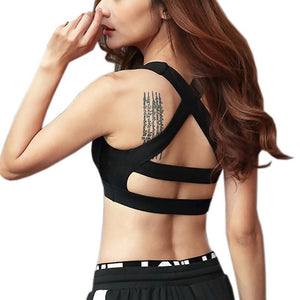 Padded Yoga Bra Cross Straps Shakeproof Women Sports Bras Push Up - Goamiroo Store