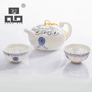 Blue-And-White Exquisite Ceramic Kettles Tea Cup Porcelain Chinese Kung Fu Tea Set - Goamiroo Store