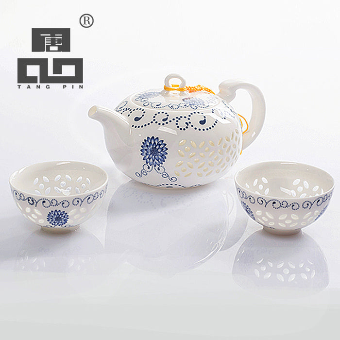 Blue-and-white Exquisite Ceramic Kettles Tea Cup Porcelain Chinese Kung Fu Tea Set