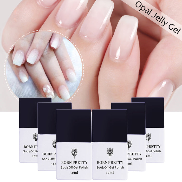 1 Bottle 10ml Opal Jelly Gel White Soak Off Manicure Nail Art UV Gel Polish