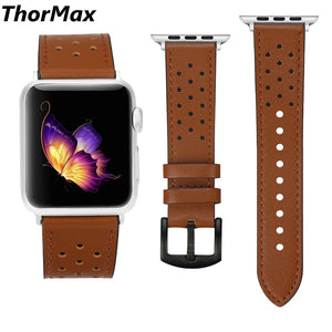 Thormax 100% Genuine Leather For Apple Watch Band Strap For Iwatch Series 3 2 1 Brown Black Spots 42Mm 38Mm - Goamiroo Store