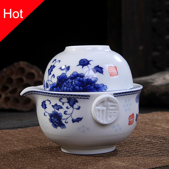 Ceramics Tea set Include 1 Pot 1 Cup, High quality elegant gaiwan kung fu teaset