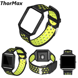 Thormax For Fitbit Blaze Bands Sport Silicone Replacement Strap With Black/silver Frame For Fitbit Blaze Smart Fitness Watch - Goamiroo