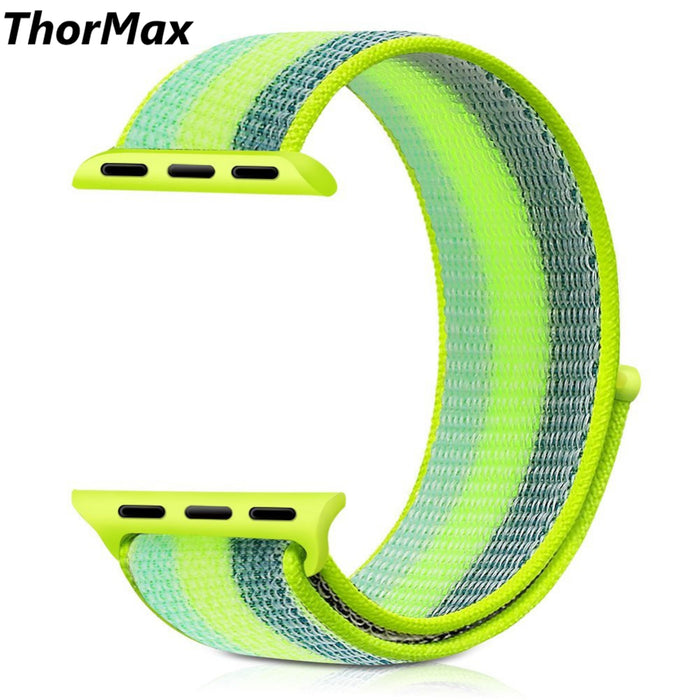 Color Striped Lightweight Soft Breathable Woven Strap Nylon Sport Loop Replacment Band for Apple Watch Series 1/2/3 38mm/42mm