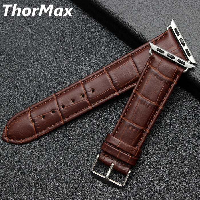 THORMAX Crocodile leather watch strap for Apple Watch Series 3/2/1 Genuine Leather Bracelet 42mm 38mm replacement watch Strap