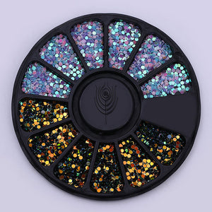 1 Box 1mm Mixed Color 3Ds Colorful Round Wafer Nail Sequins In Wheel DIY Manicure-GoAmiroo Store