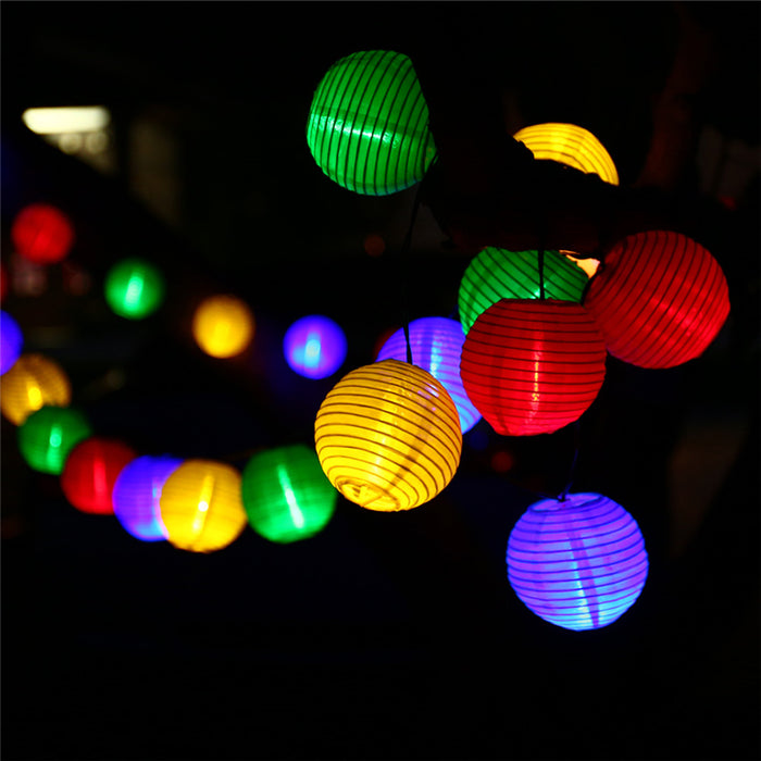 4.8M 20 LED Solar String Lights Lantern Ball Outdoor Lighting