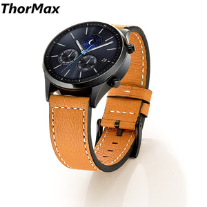 Genuine Stitching Leather Watchband For Samsung Gear S3 Classic/ Frontier Replacement Strap Men/women Wrist Bracelet 22Mm Brown - Goamiroo