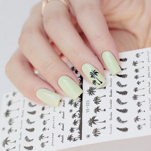 Coconut Trees Nail Water Decals Summer Anchors Style Transfer Stickers Black Feather Leaves Nail Art Stickers - Goamiroo Store