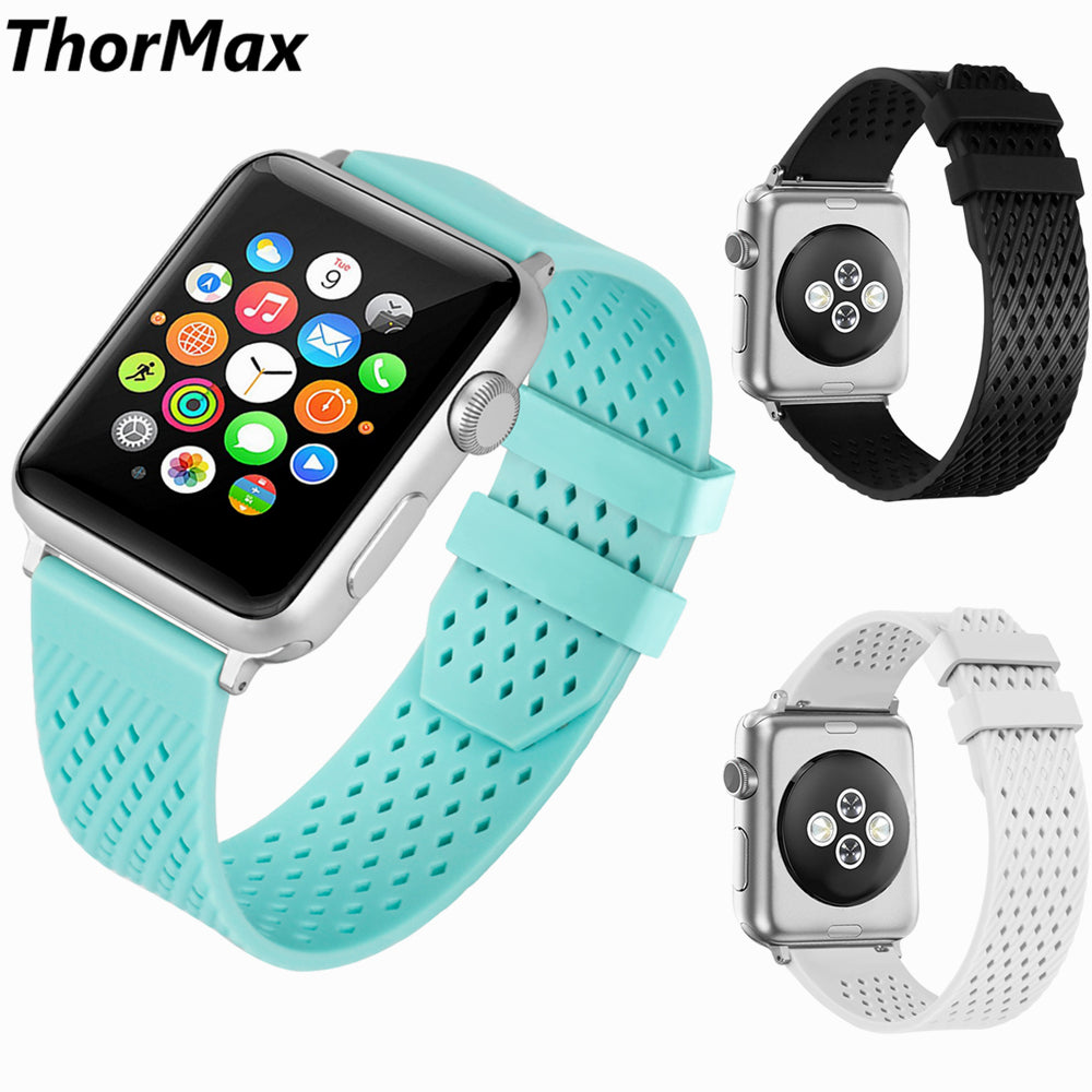 check out 80d18 94e73 ThorMax TPU waterproof Sport watchband for Apple Watch Band Strap for  iwatch Series 3 2 1 Sport 42MM 38MM