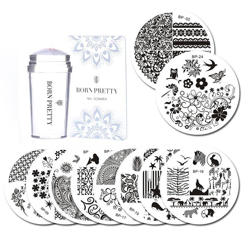 10 Pcs Stamping Plate with Clear Jelly Stamper Set Flower Lace Round ...